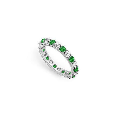 Diamond and Emerald Eternity Band : 18K White Gold - 2.00 CT TGW-JewelryKorner-com