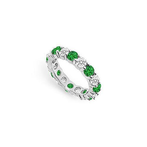 Diamond and Emerald Eternity Band : 18K White Gold - 3.00 CT TGW-JewelryKorner-com