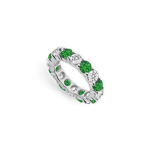 Diamond and Emerald Eternity Band : 18K White Gold - 5.00 CT TGW-JewelryKorner-com