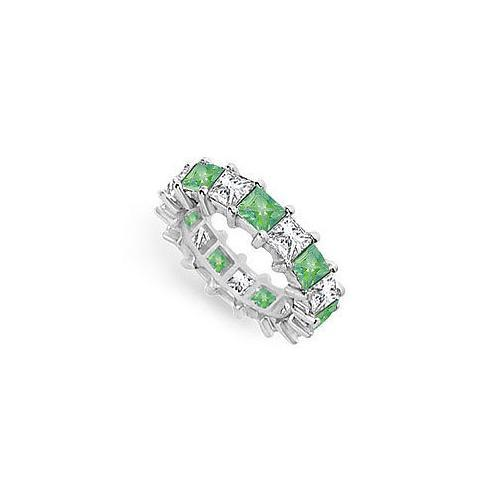Diamond and Emerald Eternity Band : 18K White Gold – 5.00 CT TGW-JewelryKorner-com