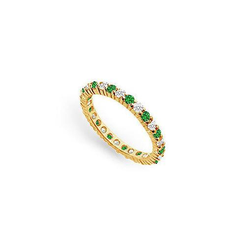 Diamond and Emerald Eternity Band : 18K Yellow Gold - 1.00 CT TGW-JewelryKorner-com