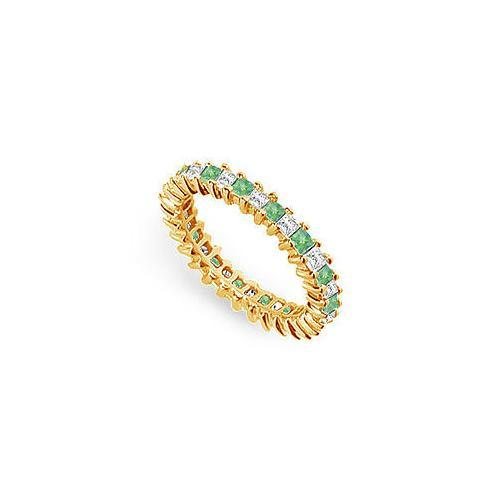 Diamond and Emerald Eternity Band : 18K Yellow Gold – 2.00 CT TGW-JewelryKorner-com