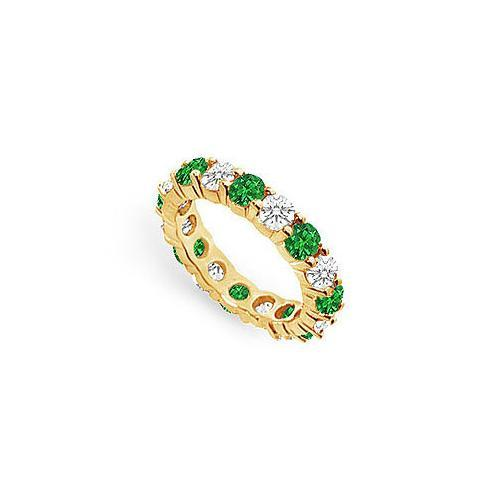 Diamond and Emerald Eternity Band : 18K Yellow Gold - 3.00 CT TGW-JewelryKorner-com