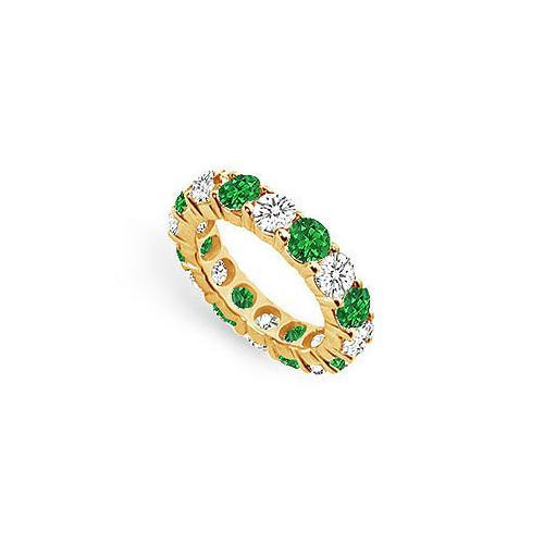 Diamond and Emerald Eternity Band : 18K Yellow Gold - 5.00 CT TGW-JewelryKorner-com