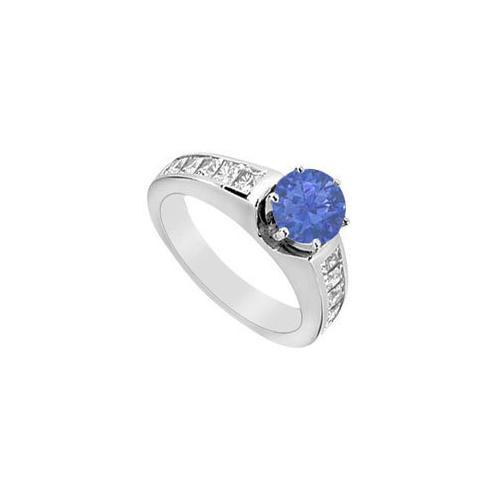 Diamond and Natural Blue Sapphire Engagement Ring 0.80 Carat TGW in 14K White Gold-JewelryKorner-com