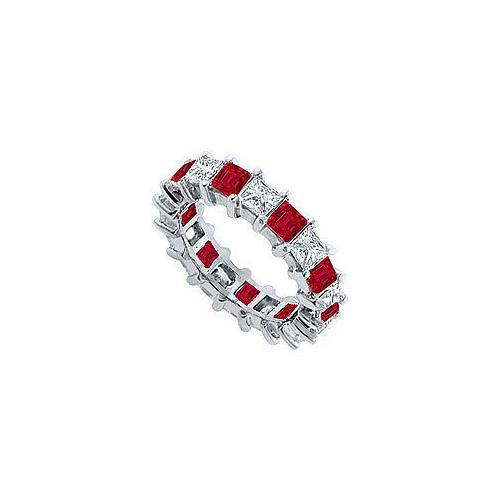 Diamond and Ruby Eternity Band : 14K White Gold – 2.00 CT TGW-JewelryKorner-com