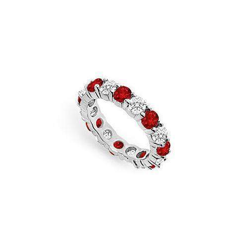 Diamond and Ruby Eternity Band : 14K White Gold – 3.00 CT TGW-JewelryKorner-com