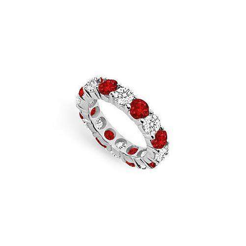Diamond and Ruby Eternity Band : 14K White Gold – 5.00 CT TGW-JewelryKorner-com