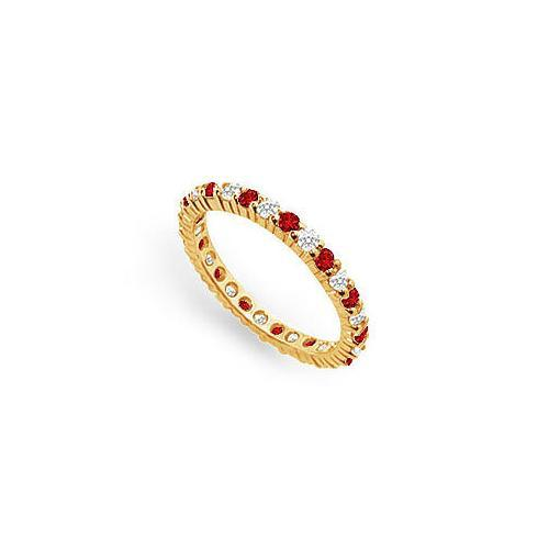 Diamond and Ruby Eternity Band : 14K Yellow Gold – 1.00 CT TGW-JewelryKorner-com