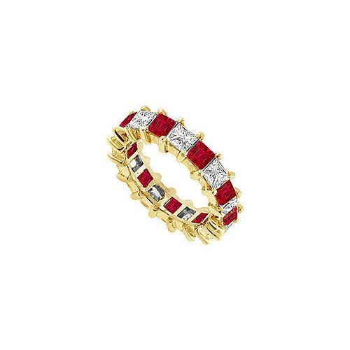 Diamond and Ruby Eternity Band : 14K Yellow Gold – 2.00 CT TGW-JewelryKorner-com