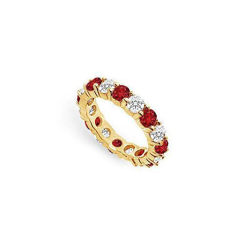 Diamond and Ruby Eternity Band : 14K Yellow Gold – 3.00 CT TGW-JewelryKorner-com