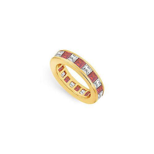 Diamond and Ruby Eternity Band : 14K Yellow Gold – 4.00 CT TGW-JewelryKorner-com