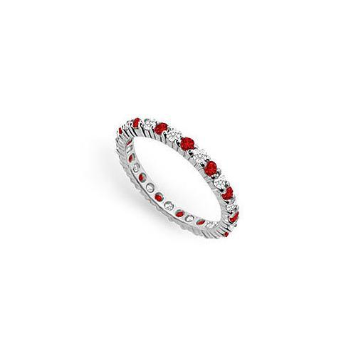 Diamond and Ruby Eternity Band : 18K White Gold – 1.00 CT TGW-JewelryKorner-com