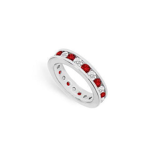 Diamond and Ruby Eternity Band : 18K White Gold – 2.00 CT TGW-JewelryKorner-com
