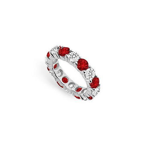 Diamond and Ruby Eternity Band : 18K White Gold – 5.00 CT TGW-JewelryKorner-com