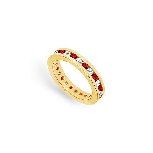 Diamond and Ruby Eternity Band : 18K Yellow Gold – 1.00 CT TGW-JewelryKorner-com