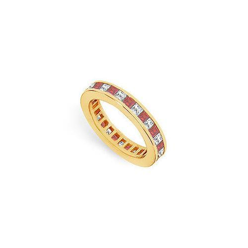 Diamond and Ruby Eternity Band : 18K Yellow Gold – 2.00 CT TGW-JewelryKorner-com