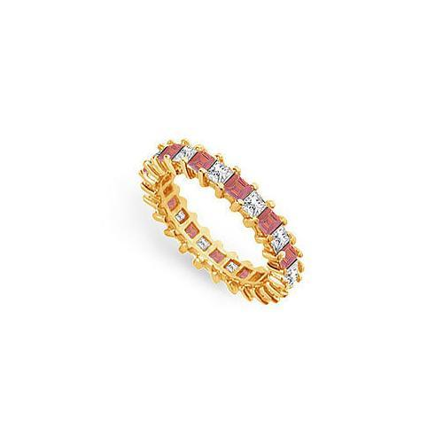 Diamond and Ruby Eternity Band : 18K Yellow Gold – 3.00 CT TGW-JewelryKorner-com