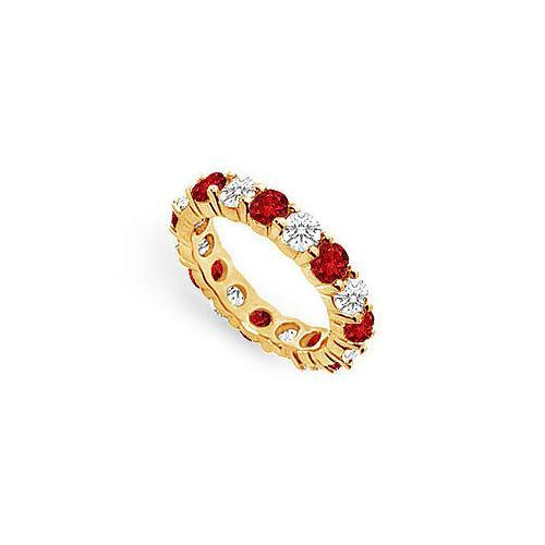 Diamond and Ruby Eternity Band : 18K Yellow Gold – 4.00 CT TGW-JewelryKorner-com