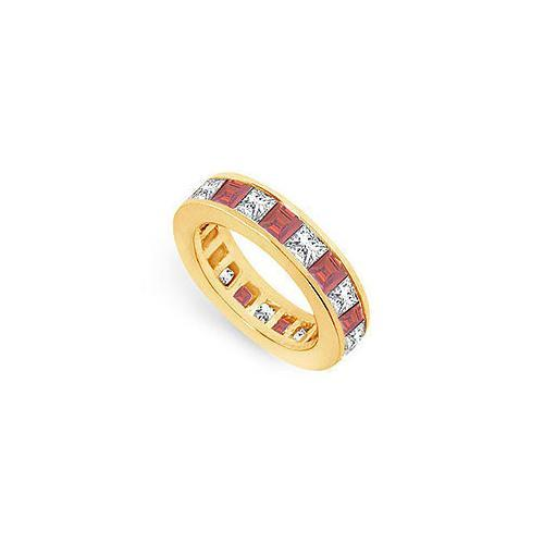 Diamond and Ruby Eternity Band : 18K Yellow Gold – 5.00 CT TGW-JewelryKorner-com