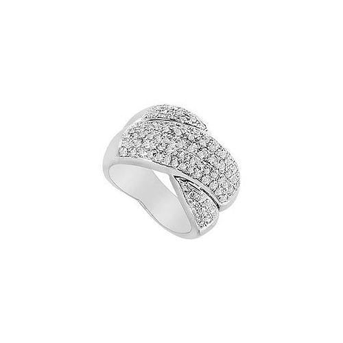 Diamond Crossover Ring : 14K White Gold - 2.00 CT Diamonds-JewelryKorner-com