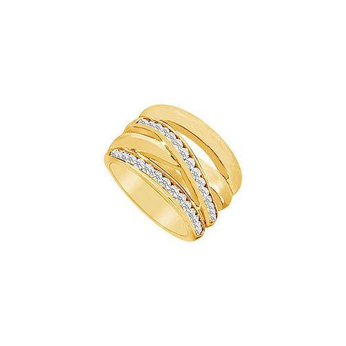 Diamond Crossover Ring : 14K Yellow Gold - 0.75 CT Diamonds-JewelryKorner-com