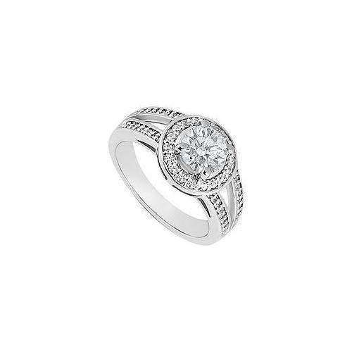 Diamond Engagement Ring : 14K White Gold 1.00 CT Diamonds-JewelryKorner-com