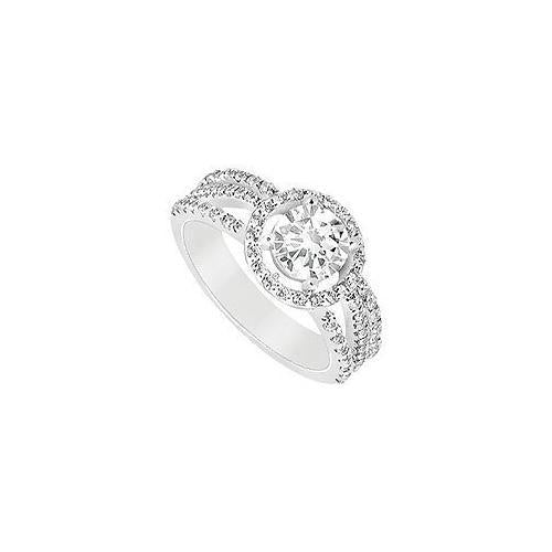 Diamond Engagement Ring : 14K White Gold - 1.25 CT Diamonds-JewelryKorner-com