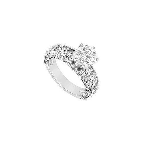 Diamond Engagement Ring : 14K White Gold - 2.00 CT Diamonds-JewelryKorner-com