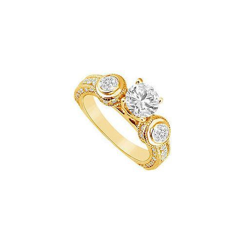 Diamond Engagement Ring : 14K Yellow Gold - 1.50 CT Diamonds-JewelryKorner-com