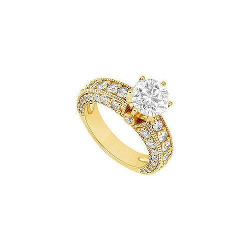 Diamond Engagement Ring : 14K Yellow Gold - 2.00 CT Diamonds-JewelryKorner-com