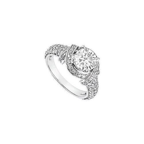 Diamond Engagement Ring : 18K White Gold – 1.25 CT Diamonds-JewelryKorner-com