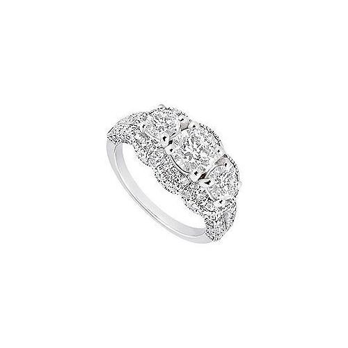 Diamond Engagement Ring : 18K White Gold - 1.75 CT Diamonds-JewelryKorner-com