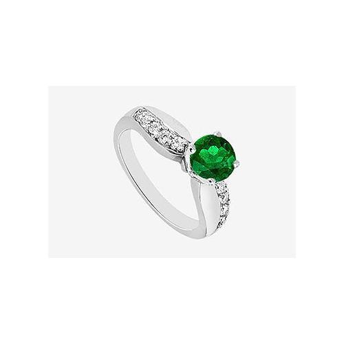 Diamond Engagement Ring and Natural Emerald Half Carat Prong set in 14K White Gold 0.75 ct. TGW-JewelryKorner-com