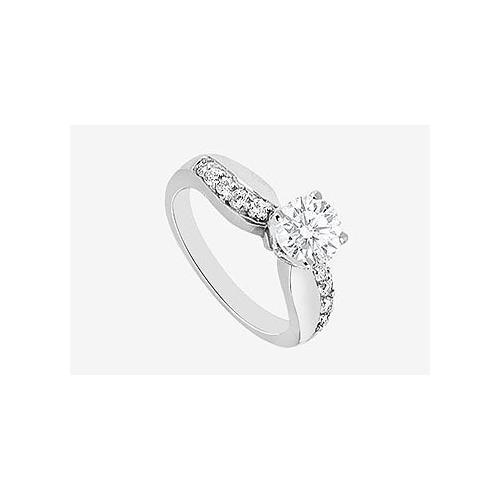 Diamond Engagement Ring with Cubic Zirconia in 14K White Gold 1.25 Carat TGW-JewelryKorner-com
