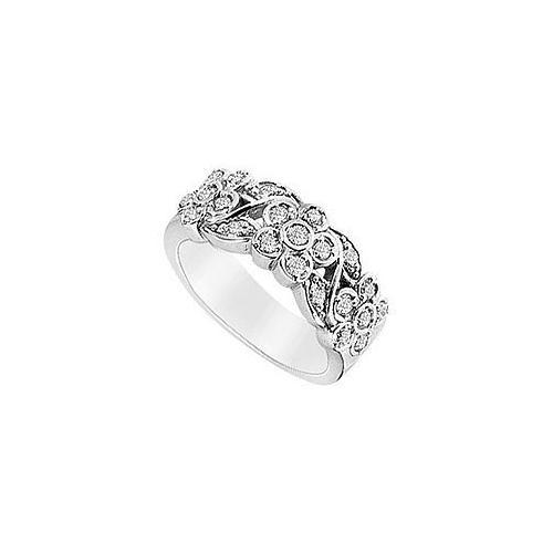 Diamond Flower Ring : 14K White Gold - 0.50 CT Diamonds-JewelryKorner-com