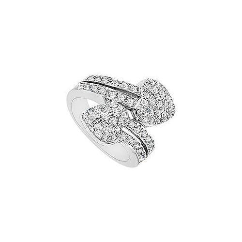 Diamond Heart Ring : 14K White Gold - 2.00 CT Diamonds-JewelryKorner-com