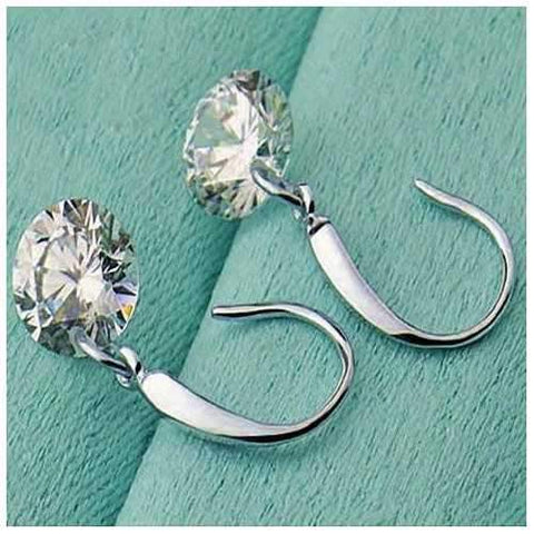 Diamond in the Sky - Drilled Naked Crystal Diamond on a Sterling Silver hook earrings-JewelryKorner-com