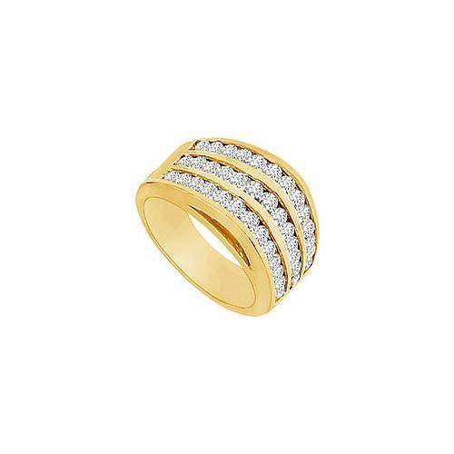 Diamond Row Ring : 14K Yellow Gold - 1.50 CT Diamonds-JewelryKorner-com