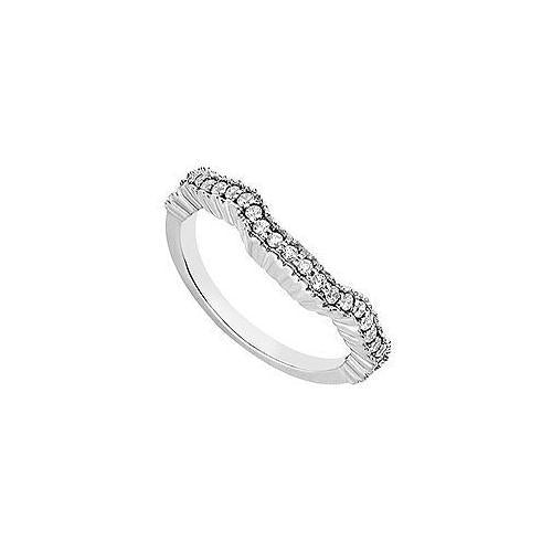Diamond Wedding Band : 14K White Gold 0.25 CT Diamonds-JewelryKorner-com