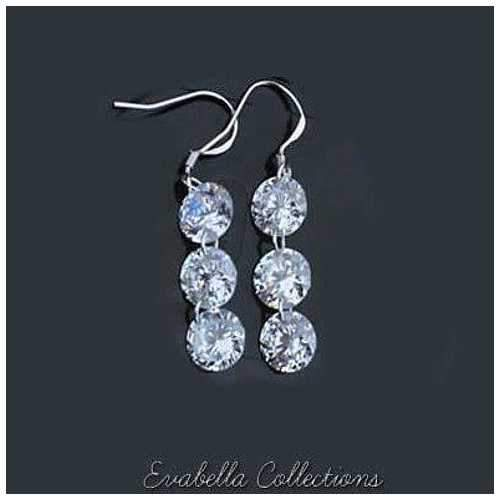 Diamonds in Sky - Drilled TRIPLE TIERED Crystal Diamonds on a Sterling Silver hook earrings-JewelryKorner-com