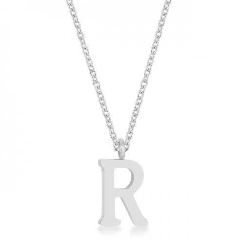 Elaina Rhodium Stainless Steel R Initial Necklace (pack of 1 ea)-JewelryKorner-com