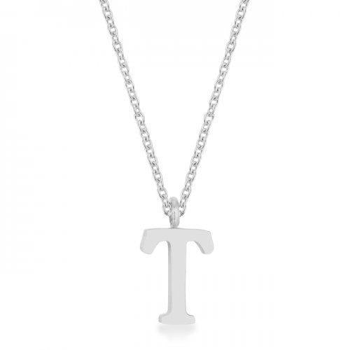Elaina Rhodium Stainless Steel T Initial Necklace (pack of 1 ea)-JewelryKorner-com