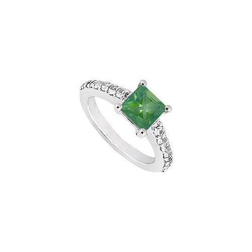 Emerald and Diamond Engagement Ring : 14K White Gold - 1.00 CT TGW-JewelryKorner-com