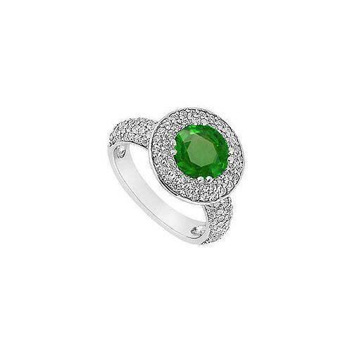 Emerald and Diamond Engagement Ring : 14K White Gold - 1.25 CT TGW-JewelryKorner-com