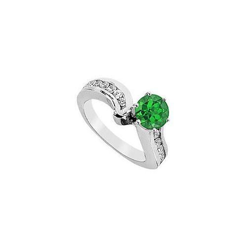 Emerald and Diamond Engagement Ring : 14K White Gold - 1.50 CT TGW-JewelryKorner-com