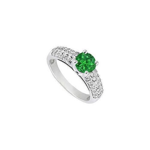 Emerald and Diamond Engagement Ring : 14K White Gold - 1.50 TGW-JewelryKorner-com