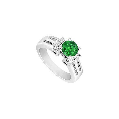 Emerald and Diamond Engagement Ring : 14K White Gold - 1.75 CT TGW-JewelryKorner-com