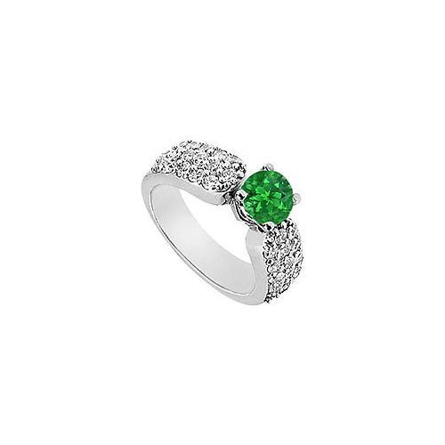 Emerald and Diamond Engagement Ring : 14K White Gold - 2.00 CT Diamonds-JewelryKorner-com
