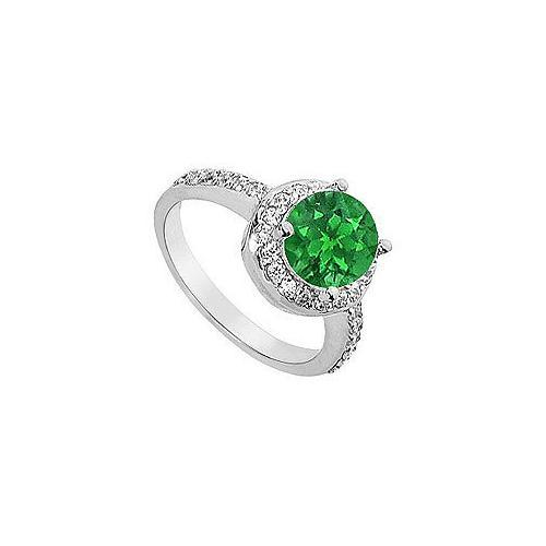 Emerald and Diamond Engagement Ring : 14K White Gold - 2.50 CT TGW-JewelryKorner-com